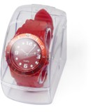Analogue watch with plastic casing and silicon strap, supplied i