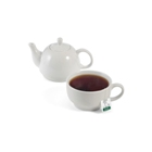 Set consisting of a white ceramic tea pot and 350ml cup, packed