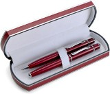 Stylish pen set consisting of a ballpen and rollerpen which are