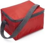 Material cooler bag with a carry handle and a zipped main compar