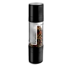 Two in one pepper and salt mill with rubberized black trim.