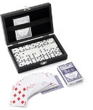 Game set consisting of two decks of cards and dominoes, supplied