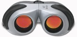 Aluminium and rubber binoculars with red lenses and an 8 x 22 ma