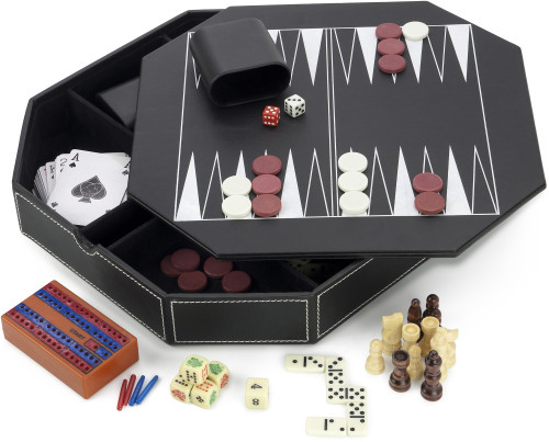 Luxurious 6-in-1 games compendium, consisting of backgammon, che
