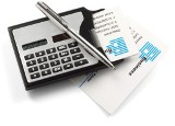 Business card holder plastic with 8 digit calculator and metal b