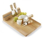 Wooden cheeseboard with magnetic tape strip and five accessories