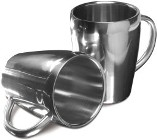 Set of two stainless steel mugs both with a 200ml capacity. - Av