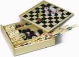 Combination five game set supplied in a wooden box dominoes, lud