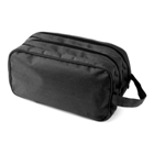 Toilet bag in a 600d polyester material with two zipped compartm