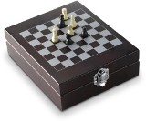 Five piece wine set with a chess-game in a wooden gift box inclu