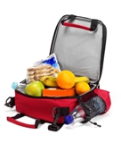 Cooler bag with side compartment for drinking bottle (not includ