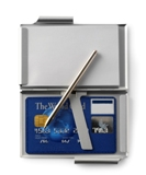 Aluminium business card holder with a fifty sheet note pad and a