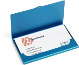 Aluminium business card holder in metallic colours, holds up to