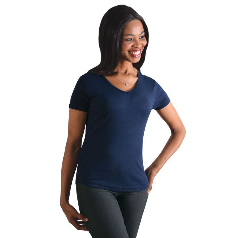 Ladies V-neck T-shirt - Avail in: Sky, Navy, Black, Stone, White