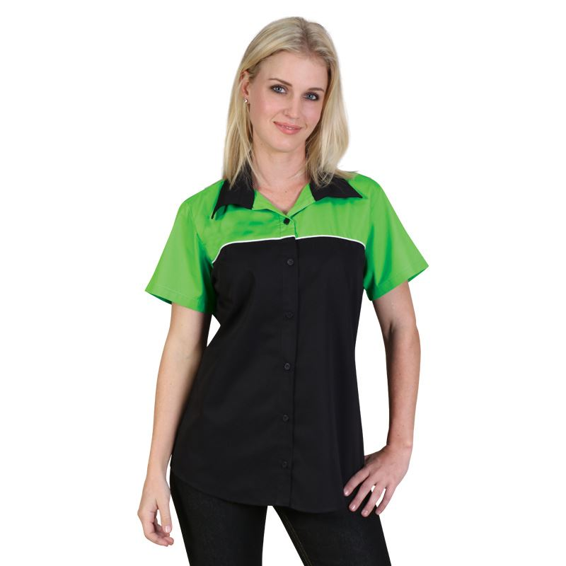 Ladies Traction Pit Crew Shirt - Avail in: Black/Royal, Black/Re