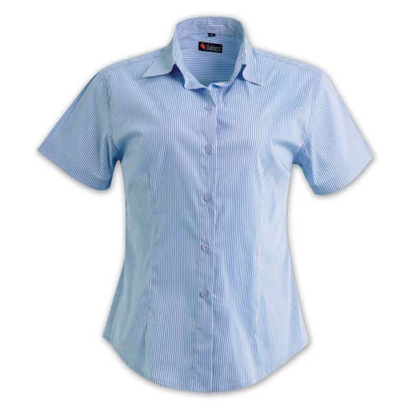Ladies Short Sleeve Vertistripe Woven Shirt   - Avail in: Sky/Wh