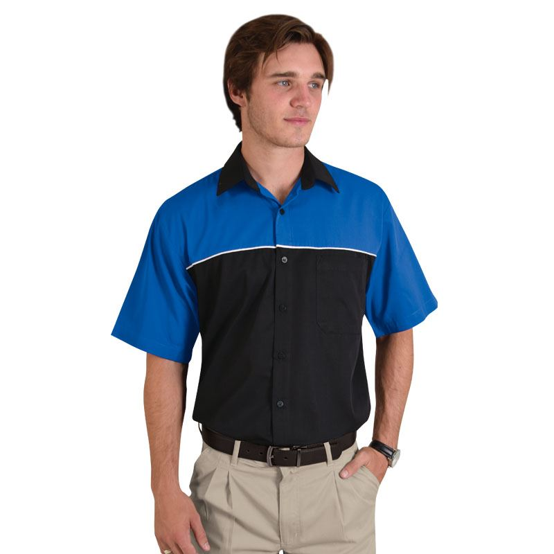 Mens Traction Pit Crew Shirt - Avail in: Black/Royal, Black/Red,