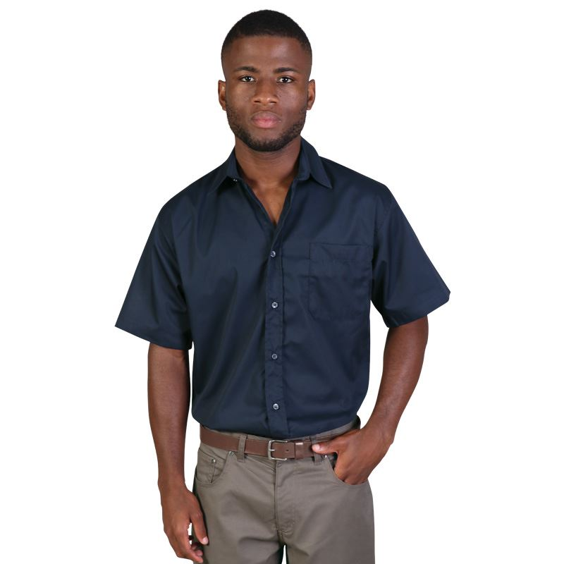 Mens Short Sleeve Classic Woven Shirt   - Avail in: Black, Sky,
