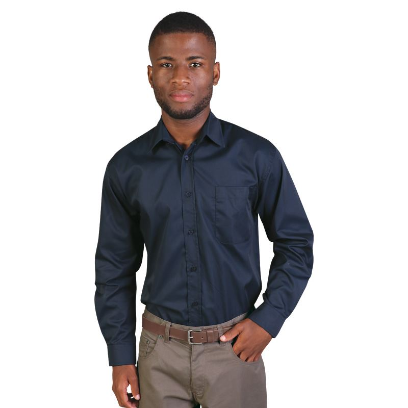 Mens Long Sleeve Classic Woven Shirt   - Avail in: Black, Sky, N