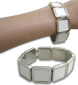 Fashion Bracelet Sl03 With Square Printable Metal Inserts - Elas