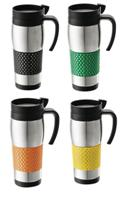 Travel Mug With Rubber Grip (Orange)