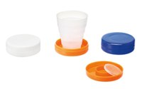 Folding Cup With Pill Compartment (Blue)