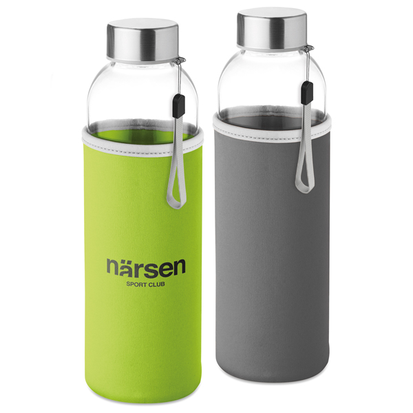 Glass water bottle with neoprene pouch