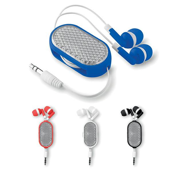 Retractable Earphone with reflective front