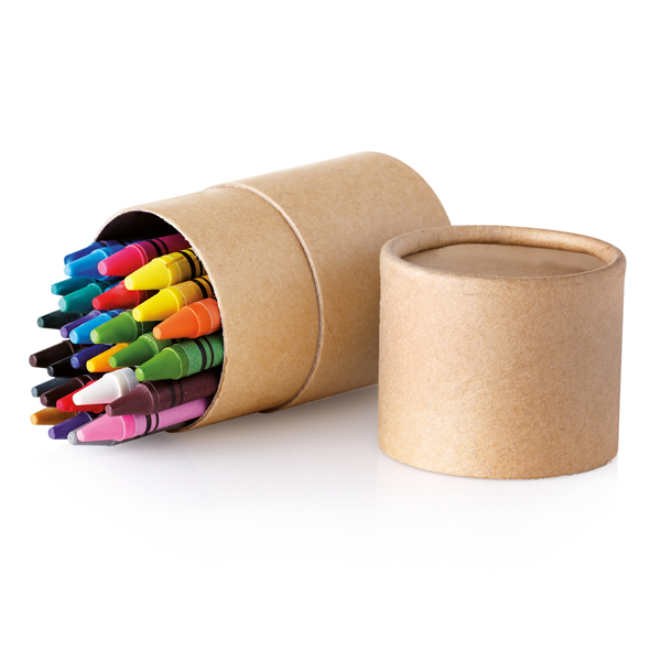 Eco tube with 30 different colour wax crayons