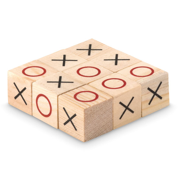 Wooden tic tac toe game set with box.