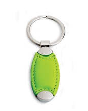 PU Oval Keyring - Available in Lime, Black, Blue or Red