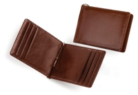 Leather Money Clip & Card Holder - Brown