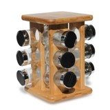 Spice Rack - 2 Tier Black 16 pc