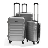 ABS Luggage 3Pcs Trolley Bag Set - Avail in Black Silver