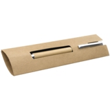 Wooden ball pen presented in a cardboard pouch.