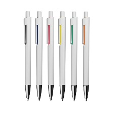 Modern white plastic ballpen with coloured accents