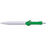 Plastic ball pen with a 2D hand shaped clip - each pen has a dif
