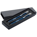 Metal pen and pencil set in a gift box.