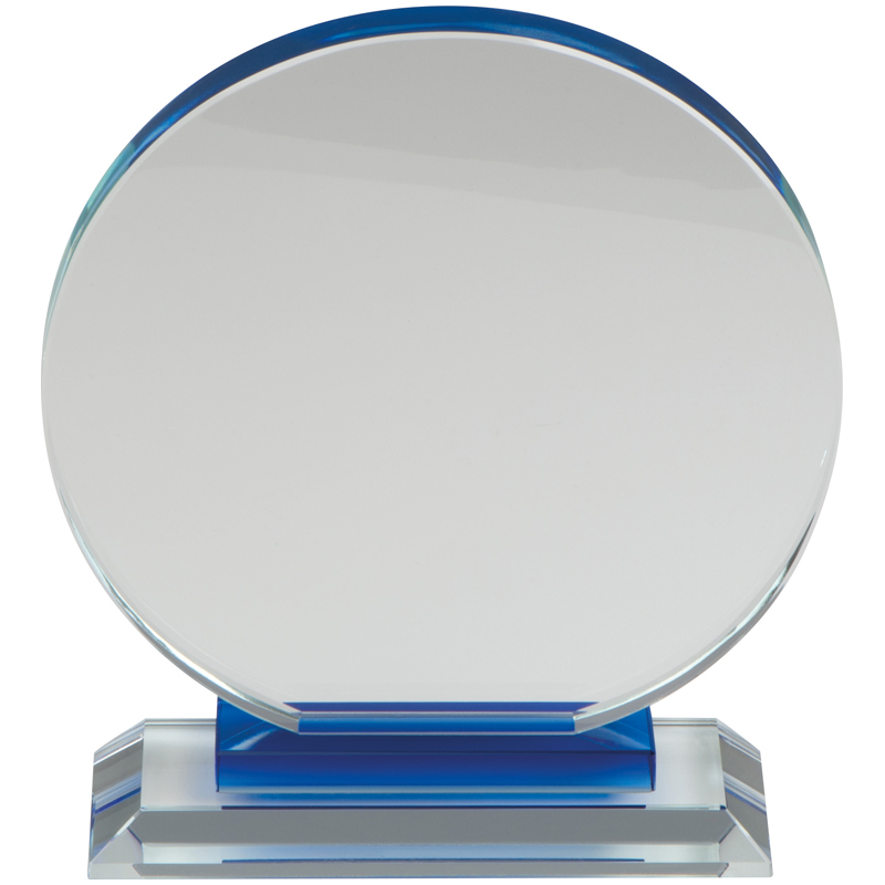 Round glass trophy on a pedestal - presented in a gift box with