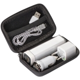 Travel set with a car charger, power outlet and a 2200mAh power