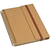 A5 hardcover cardboard notebook with a pen loop and elastic band