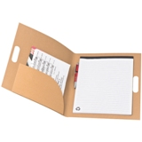 A4 cardboard notebook with storage compartment, pen loop and int