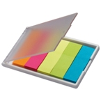 Sticky notes/markers in five colours with plastic casing.
