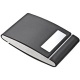 Dual sided metal/PU card holder with a plaque for branding.