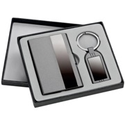 Business card holder & key ring gift set in a black gift box.