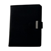 Soft PU A5 folder with metal latch.
