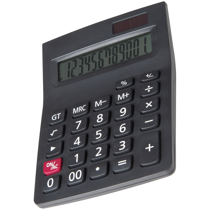 Dual powered 12 digit calculator with large display