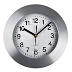 Wall clock with brushed metal frame and easy-read display.