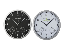 Wall clock with hygro- and thermometer, removable face.