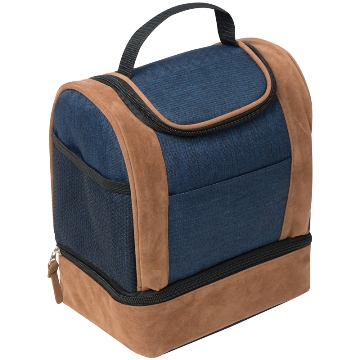 Navy Cooler bag with suede accents